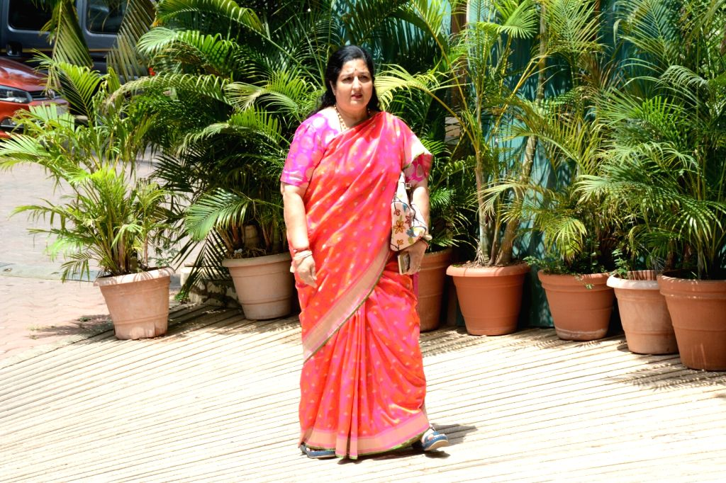 Singer Anuradha Paudwal arrives at the Haldi ceremony of son of  Assistant Commissioner of Customs (Preventive Wing) Deepak Pandit, in Mumbai's Juhu on May 27, 2018.