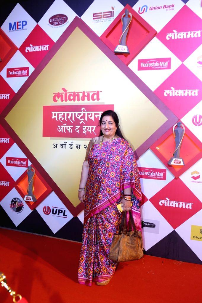 Singer Anuradha Paudwal at Lokmat Maharashtrian of the Year Awards 2019 in Mumbai, on Feb 20, 2019.