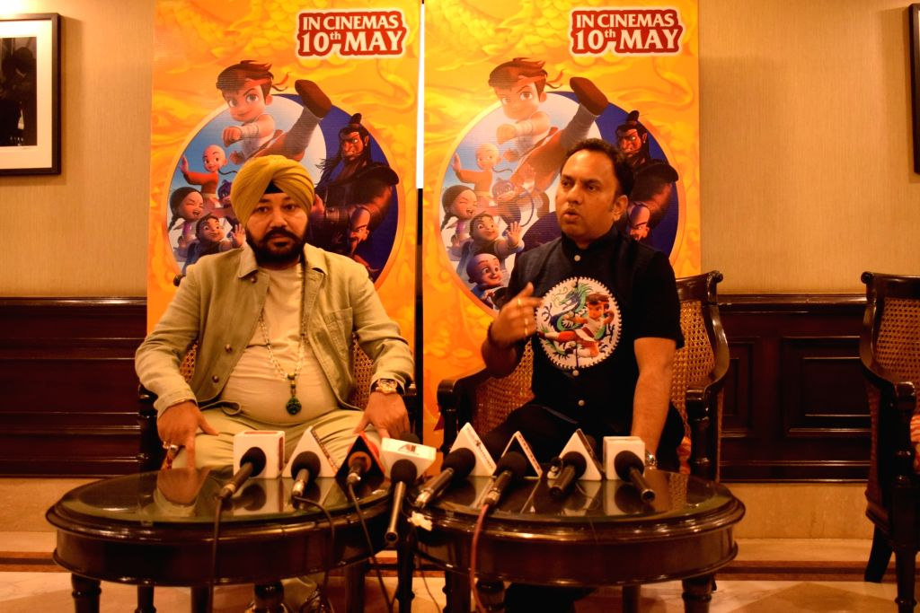 "Singer Daler Mehandi and director Rajiv Chilaka during a press conference to promote the upcoming animated film ""Chhota Bheem Kung Fu Dhamaka"" in New Delhi on May 10, 2019. - Rajiv Chilaka"