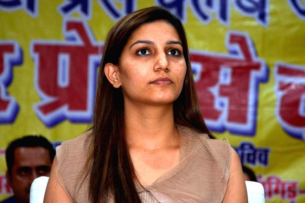 Singer-dancer Sapna Choudhary during a press conference in Jaipur on Feb 22, 2019. - Sapna Choudhary