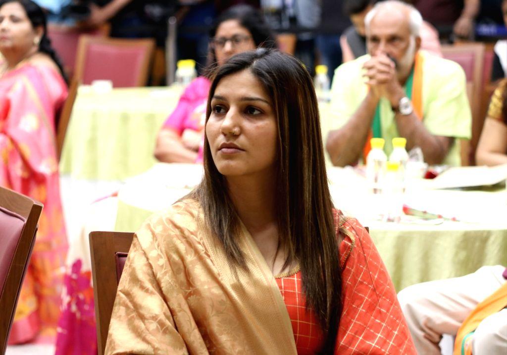 Singer-dancer Sapna Choudhary during a programme at BJP's headquarter, in New Delhi, on May 5, 2019. - Sapna Choudhary