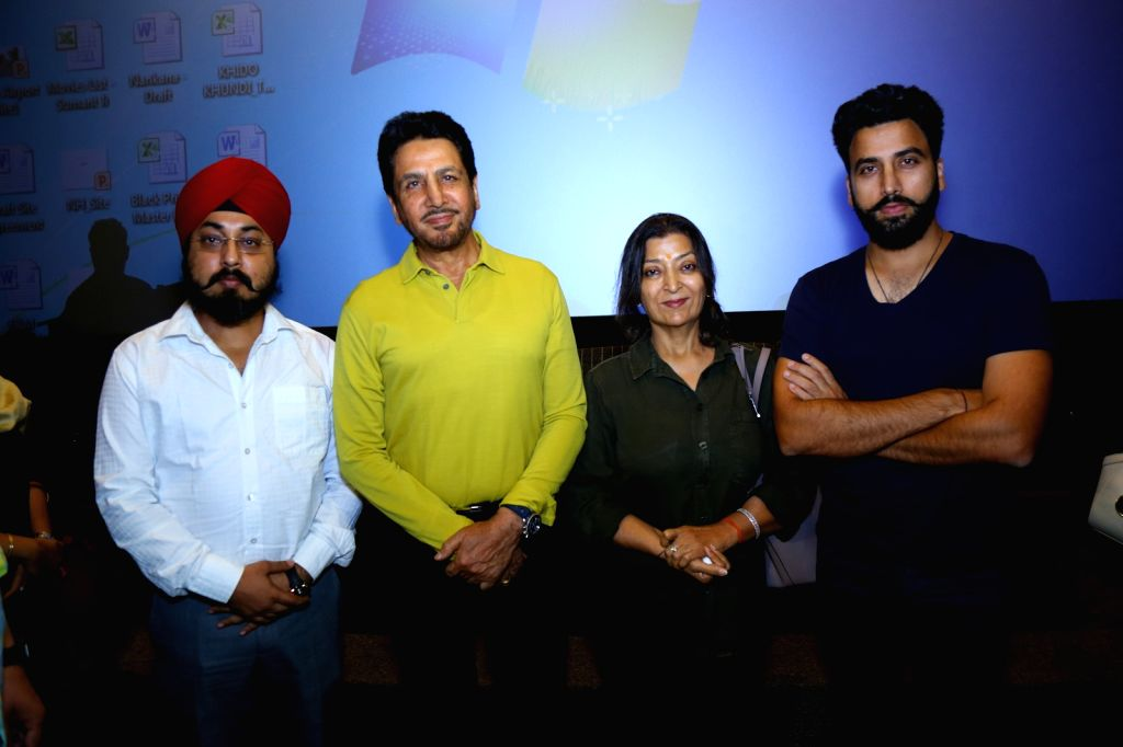 """Singer Gurdas Maan along with son Gurickk G Maan and wife Manjeet Maan during the promotion of the song """"Mittar Pyare Nu"""" from his upcoming music album 'Punjab' in New Delhi on ..."""