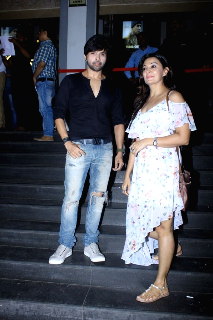 Singer Himesh Reshammiya with Sonia Kapur during the screening of film Tubelight, in Mumbai, on June 22, 2017.