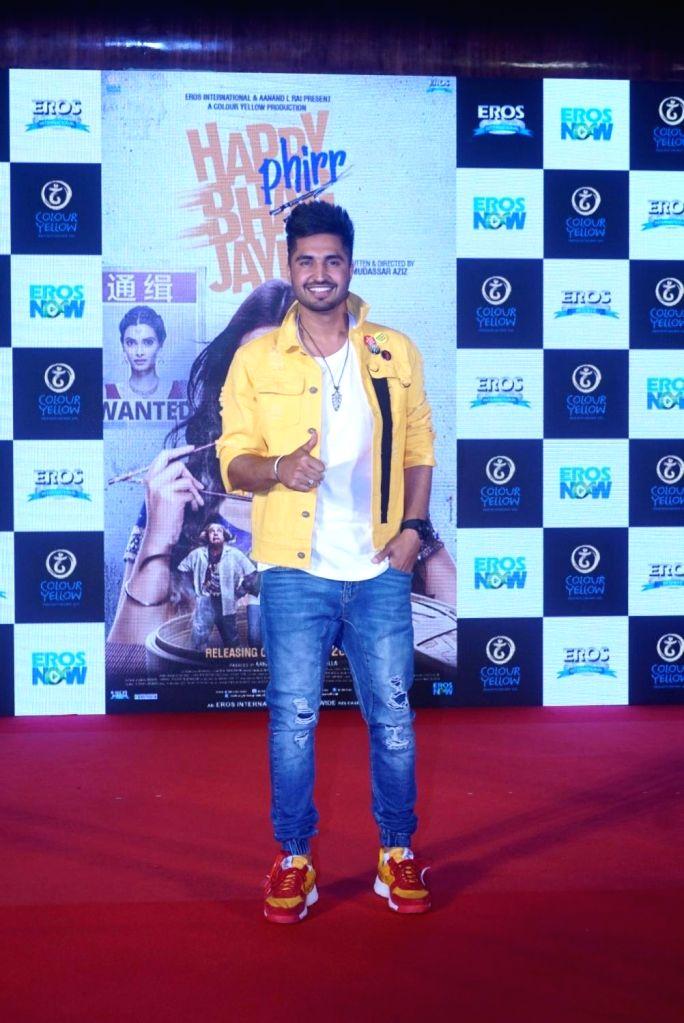 "Singer Jassi Gill at the trailer launch of  upcoming film ""Happy Phirr Bhag Jayegi""  in Mumbai on July 25, 2018."