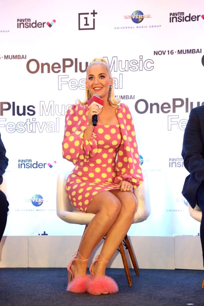 Singer Katy Perry at a press conference.