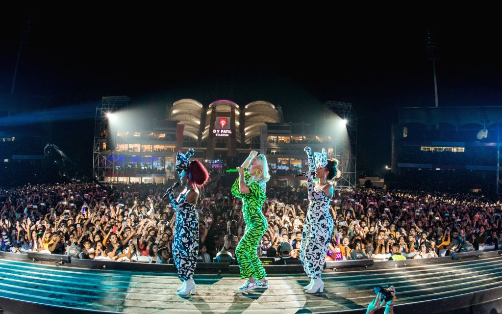 Singer Katy Perry performing at D Y Patil Sports Stadium in Mumbai on Nov 16, 2019.