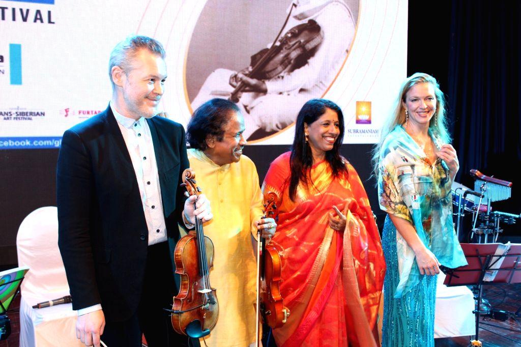 Singer Kavita Krishnamurty and Violinist Dr. L. Subramaniam performs during the 25th Laxminarayana Global Music in Mumbai on Jan 13, 2017.