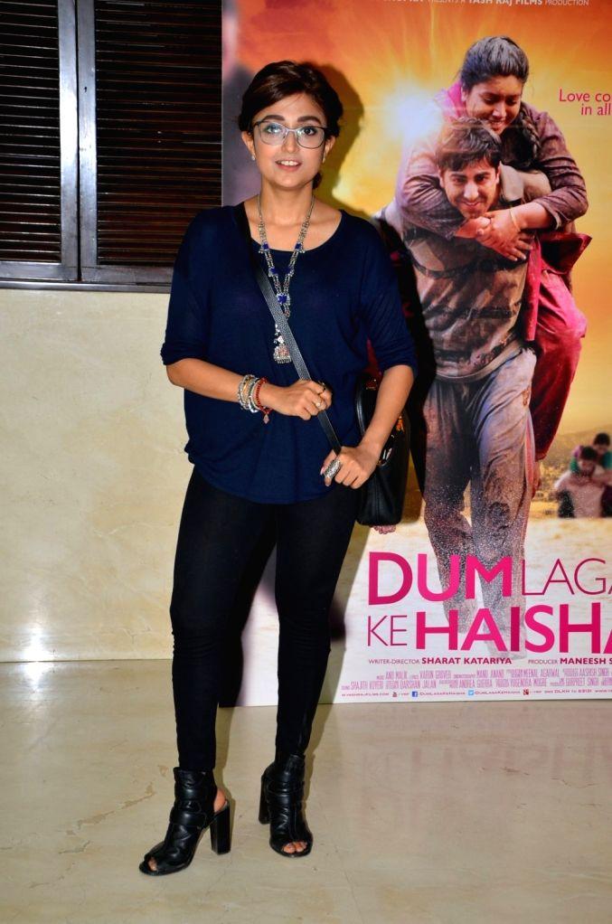 Singer Monali Thakur during the media interaction of National Award for best Hindi film Dum Laga Ke Haisha in Mumbai, on March 29, 2016.