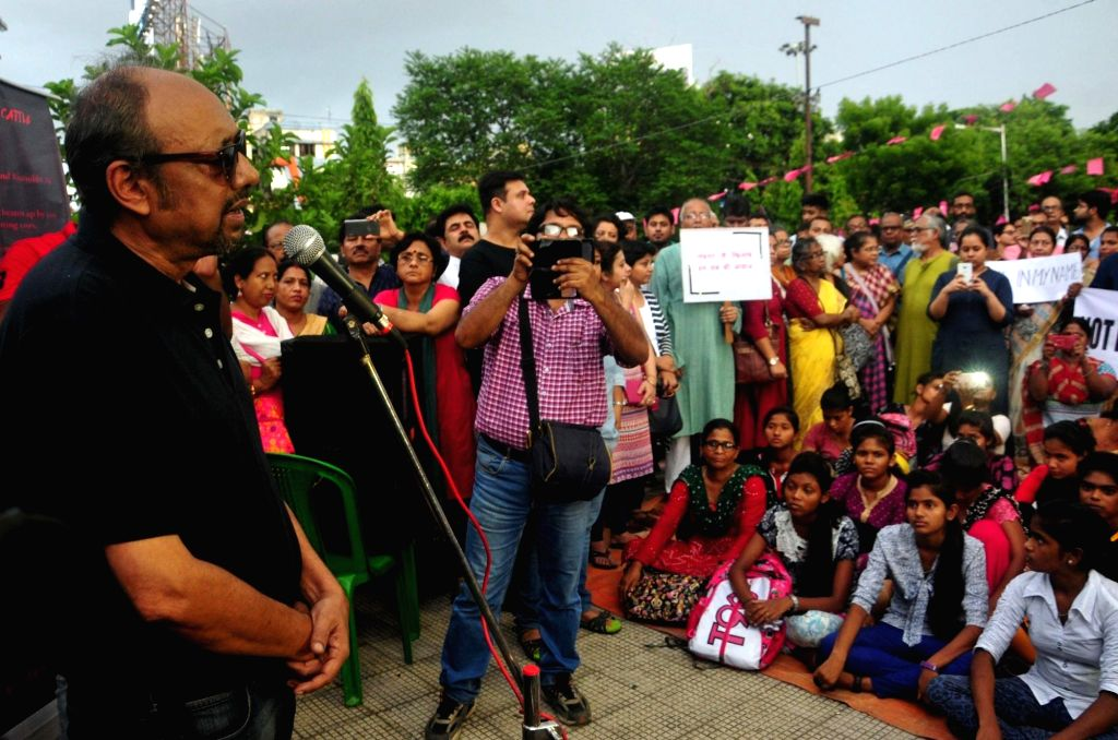 "Singer-music composer Anjan Dutta addresses during ""Not In My Name"" protest organised against killing of Junaid Khan, who was stabbed to death by a mob who accused him and his ... - Junaid Khan"