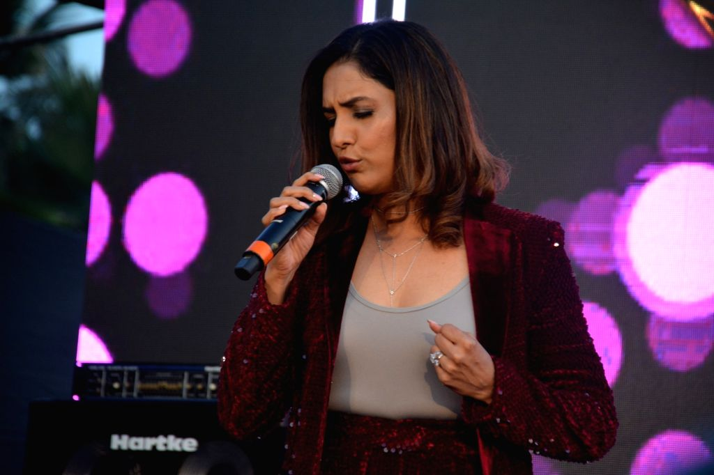 "Singer Neeti Mohan performs at the launch of third edition of live singing reality show ""Rising Star"" in Mumbai, on March 13, 2019."
