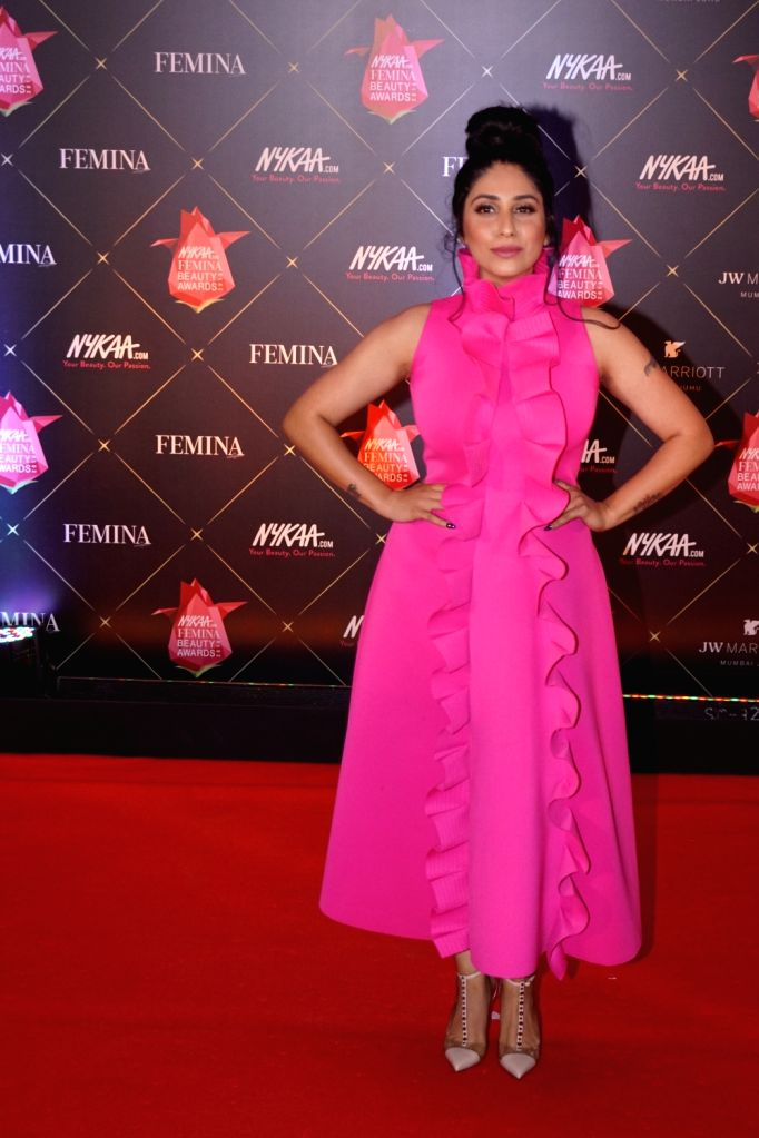 Singer Neha Bhasin at the Femina Beauty Awards 2018 in Mumbai on Feb 15, 2018.