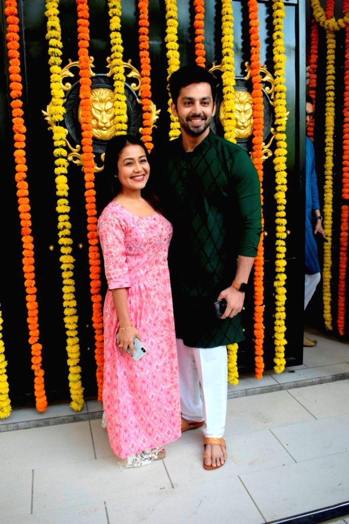 Singer Neha Kakkar and actor Himansh Kohli at producer Ekta Kapoor's residence for Ganpati Celebrations in Mumbai on Sept 16, 2018. - Himansh Kohli and Ekta Kapoor