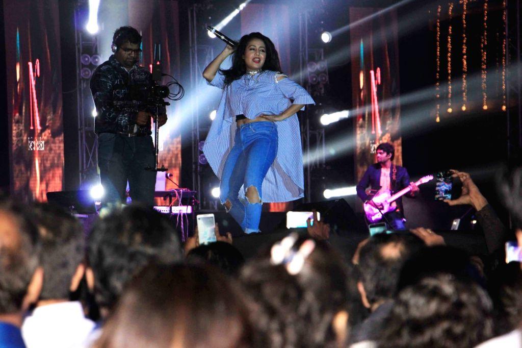 Singer Neha Kakkar during a live performance at `The Regency Antilia` in Mumbai on Oct 31, 2016.