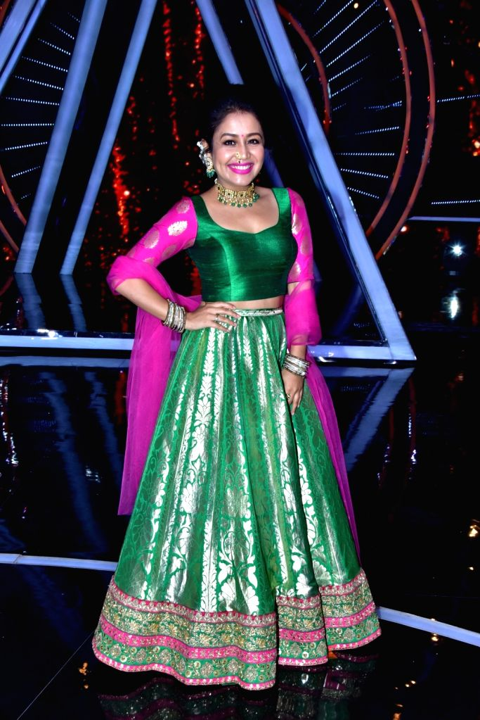 "Singer Neha Kakkar on the sets of singing reality show ""Indian Idol 10"" in Mumbai on Sept 11, 2018."