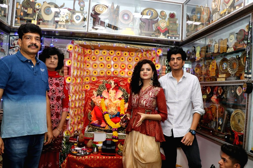 Singer Palak Muchhal and music composer Palash Muchhal seek blessings of Lord Ganesha in Mumbai on Sept 17, 2018.