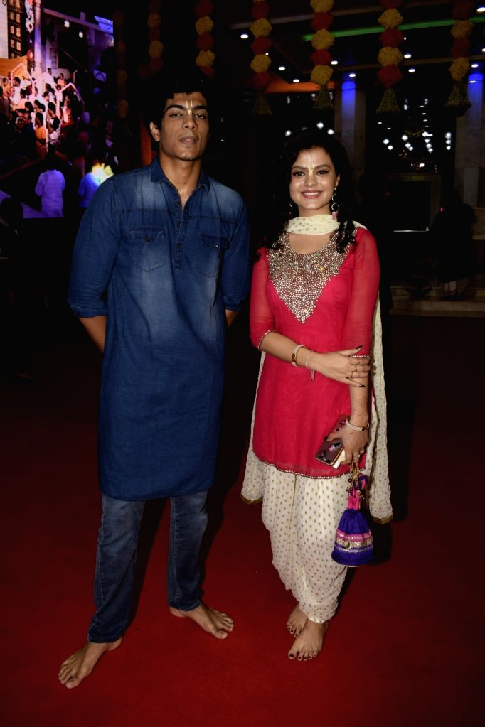 Singer Palak Muchhal with her brother Palash Muchhal during Janmashtami celebrations at ISKCON temple, in Mumbai on Sept 3, 2018.