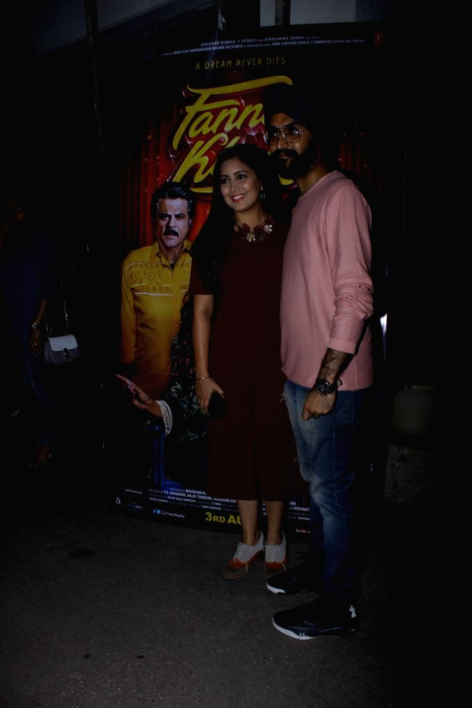 "Singer Rabbi Shergill and Harshdeep Kaur at the special screening of upcoming film ""Fanney Khan"", in Mumbai on Aug 1, 2018. - Harshdeep Kaur and Fanney Khan"