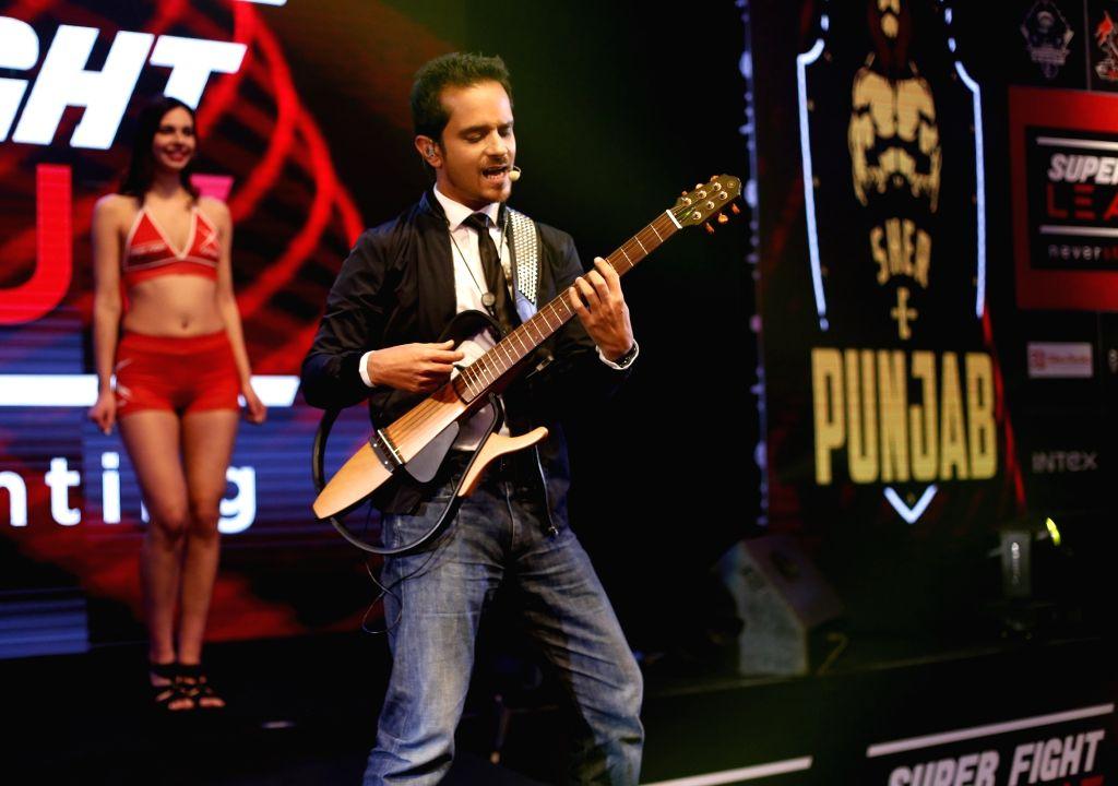 Singer Raghav Sachar during the Super Fight League (SFL) between Bengaluru Tigers and Goa Pirates in New Delhi on Feb 25, 2017.
