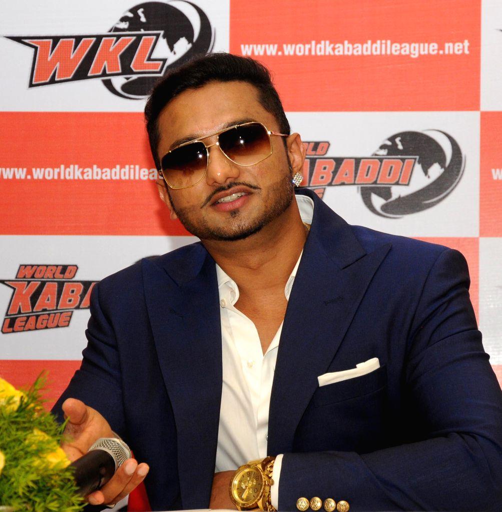 Singer-rapper Honey Singh during a press conference regarding kabaddi team ahead of  World Kabaddi League (WKL) in New Delhi on July 11, 2014.