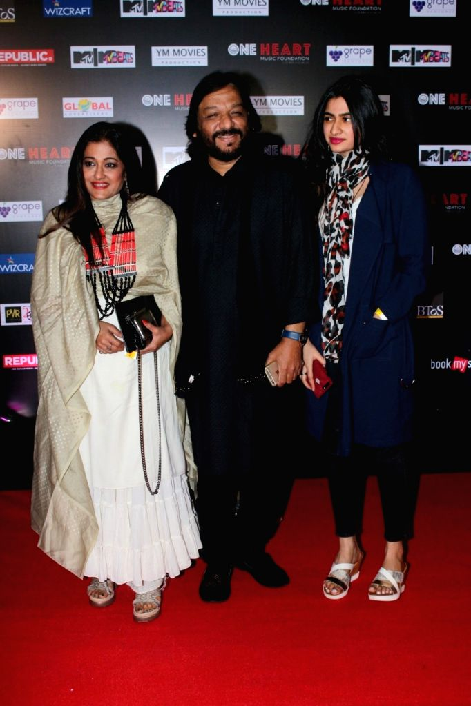 "Singer Roop Kumar Rathod along with his wife Sunali Rathod and daughter Reewa Rathod during the premiere of Music Maestro A.R. Rahman ""One Heart - A Concert Film"" in Mumbai on Sept ... - Roop Kumar Rathod"