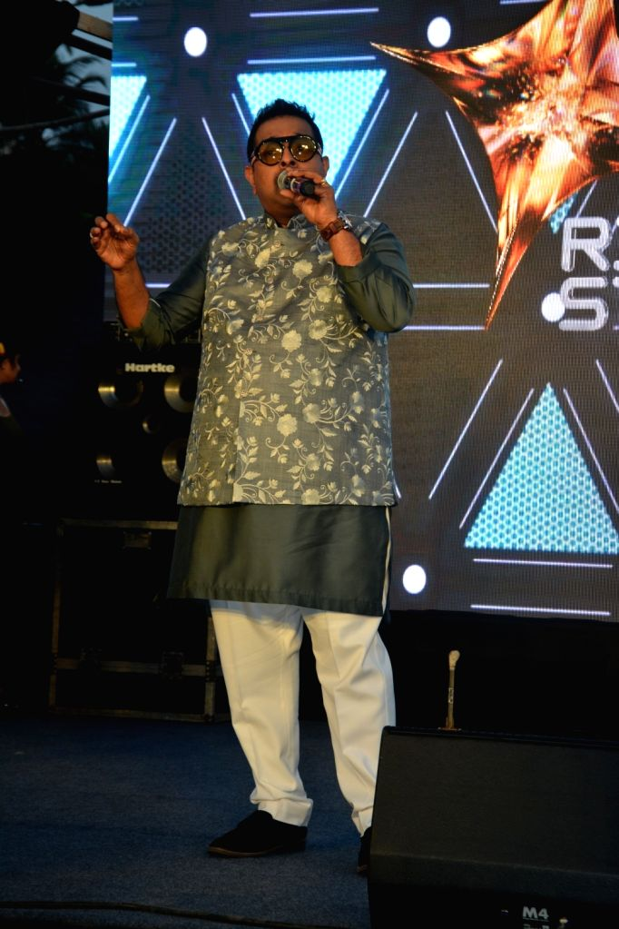"Singer Shankar Mahadevan performs at the launch of third edition of live singing reality show ""Rising Star"" in Mumbai, on March 13, 2019."