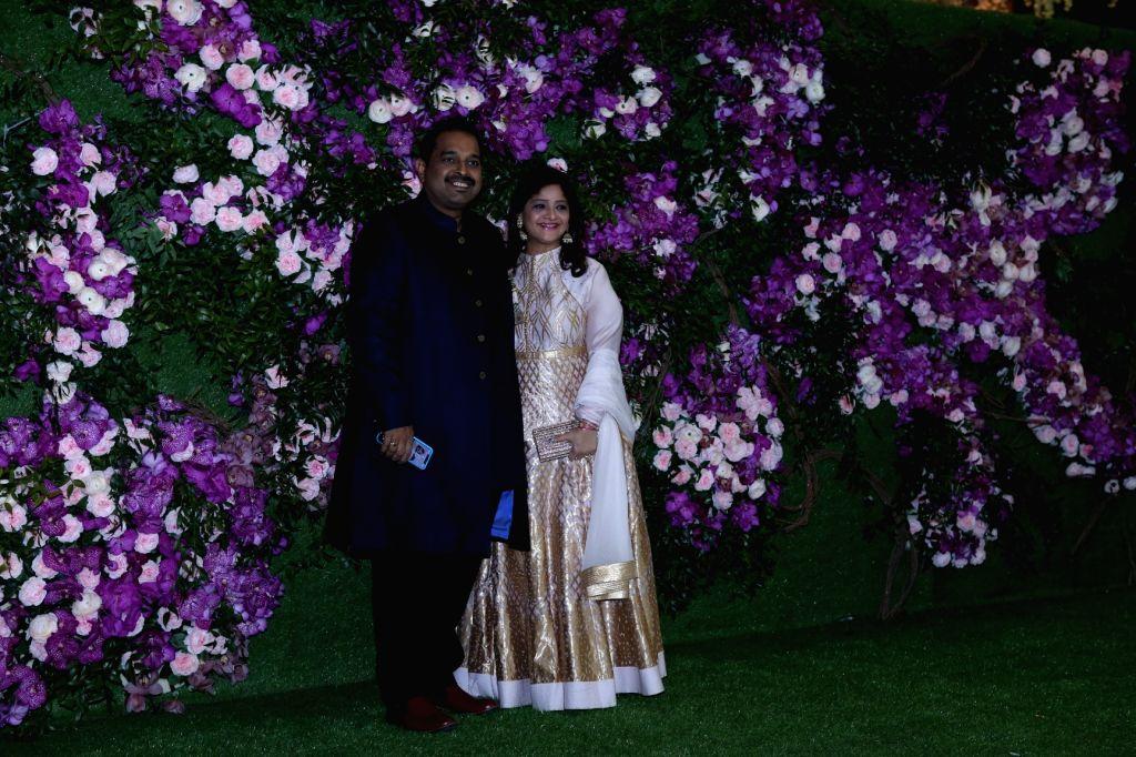 Singer Shankar Mahadevan with his wife Sangeeta Mahadevan at the wedding festivities of Akash Ambani and Shloka Mehta in Mumbai, on March 9, 2019. - Akash Ambani and Shloka Mehta