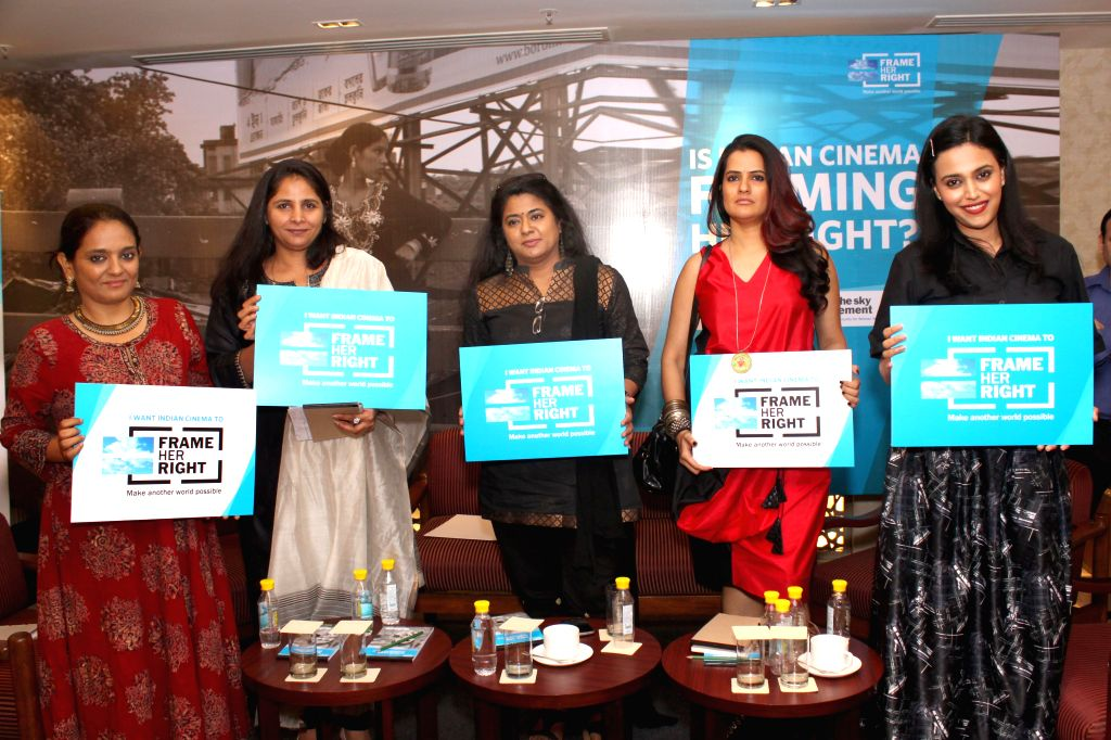 Singer Sona Mohapatra, actress Swara Bhaskar and others during a panel discussion on `Is Indian Cinema Framing Her Right` in New Delhi, on July 15, 2015. - Swara Bhaskar