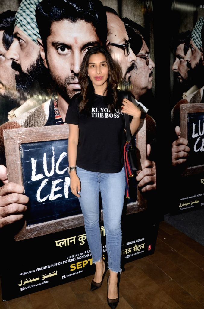 """Singer Sophie Choudry during the special screening of upcoming film """"Lucknow Central"""" in Mumbai on Sept 10, 2017"""