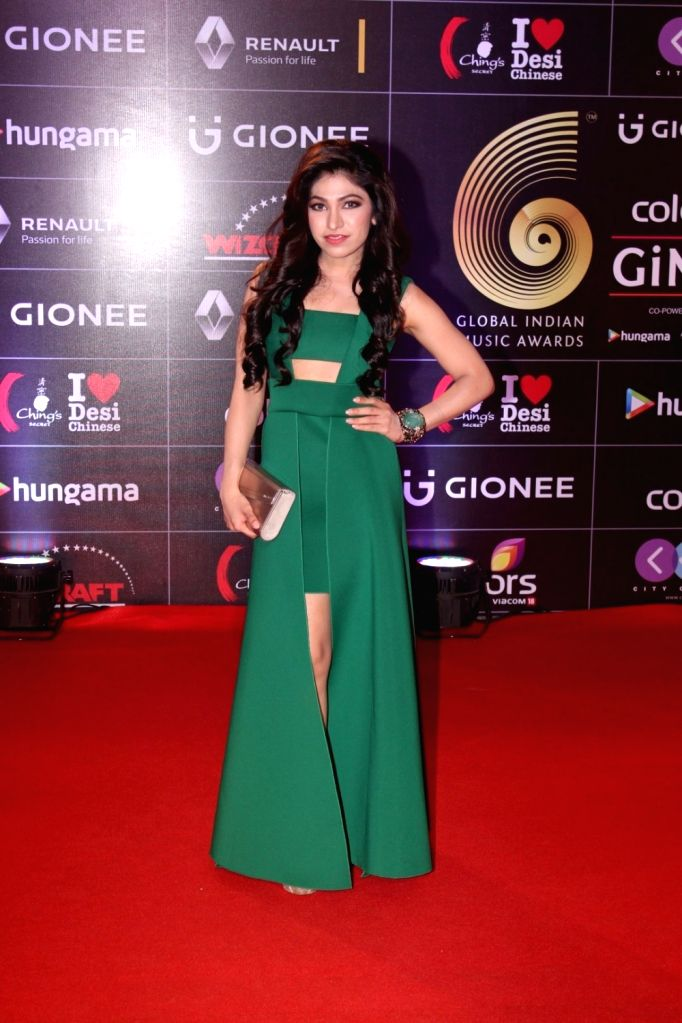 Singer Tulsi Kumar during the 6th edition of the GiMA Awards 2016 in Mumbai on April 1, 2016 - Tulsi Kumar