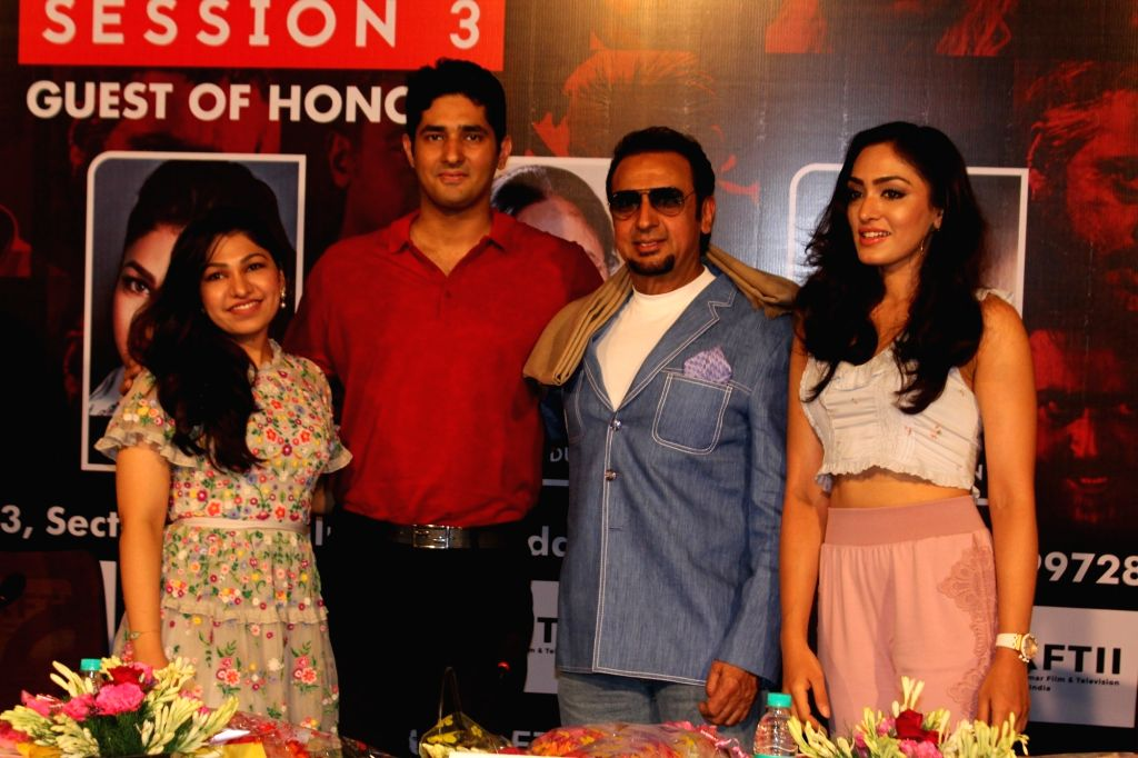 Singer Tulsi Kumar with her husband Hitesh Ralhan, actor Gulshan Grover and singer Khushali Kumar at the inaugural programme of the third session of Gulshan Kumar Film and Television Institute ... - Gulshan Grover, Tulsi Kumar, Khushali Kumar and Gulshan Kumar Film