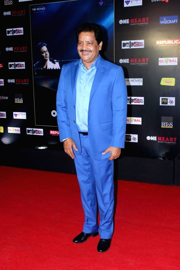 "Singer Udit Narayan during the premiere of Music Maestro A.R. Rahman ""One Heart - A Concert Film"" in Mumbai on Sept 7, 2017."