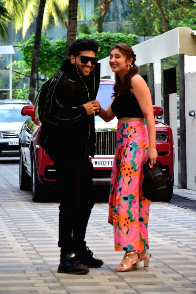 Singers Guru Randhawa and Dhvani Bhanushali seen at the office of T-Series at Mumbai's Andheri on Oct 5, 2020.