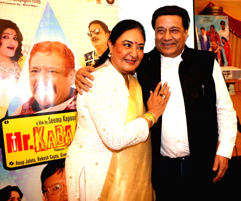 """Singers Jaspinder Narula and Anup Jalota during the music success party of comedy film """"Mr. Kabaadi"""" in Mumbai on Sept 4, 2017."""