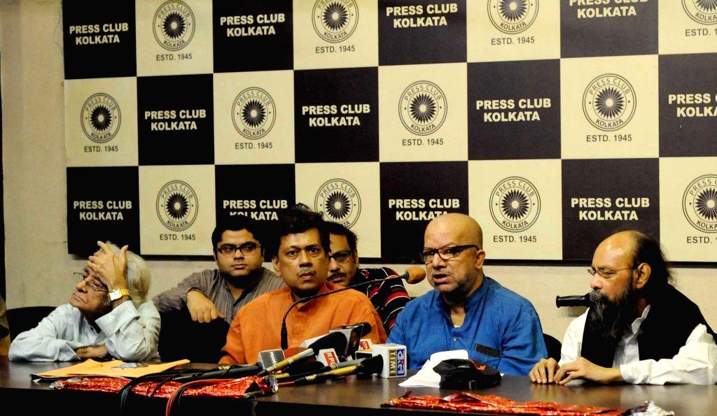 Singers Kabir Suman, Pratul Mukhopadhyay and poet Joy Goswami address a press conference in Kolkata, on Nov 25, 2016. - Goswami