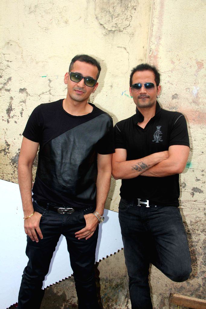 Singers Meet Brothers during the on location shoot of film Sharafat Gayi Tel Lene in Mumbai on July 8, 2014.