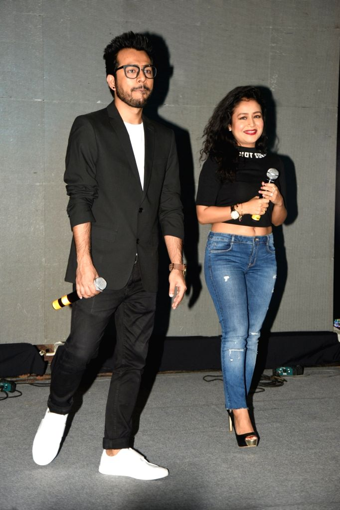 Singers Neha Kakkar and Tony Kakkar during the music launch of the film 'Fever' in Mumbai.
