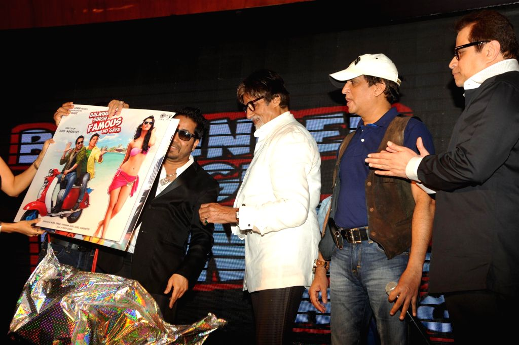 Singers Shaan, Mika Singh and actor Amitabh Bachchan during the music launch of film Balwinder Singh Famous Ho Gaya in Mumbai, on Sept 9, 2014. - Amitabh Bachchan and Mika Singh