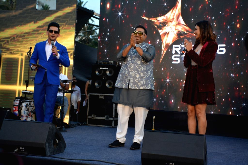 "Singers Shankar Mahadevan, Aditya Narayan and Neeti Mohan at the launch of third edition of live singing reality show ""Rising Star"" in Mumbai, on March 13, 2019."