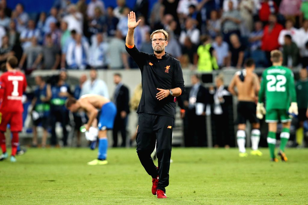 SINHEIM, Aug. 16, 2017 - Jurgen Klopp, head coach of Liverpool waves to fans after the UEFA Champions League Qualifying Play-Offs Round First Leg match against 1899 Hoffenheim at Wirsol ...