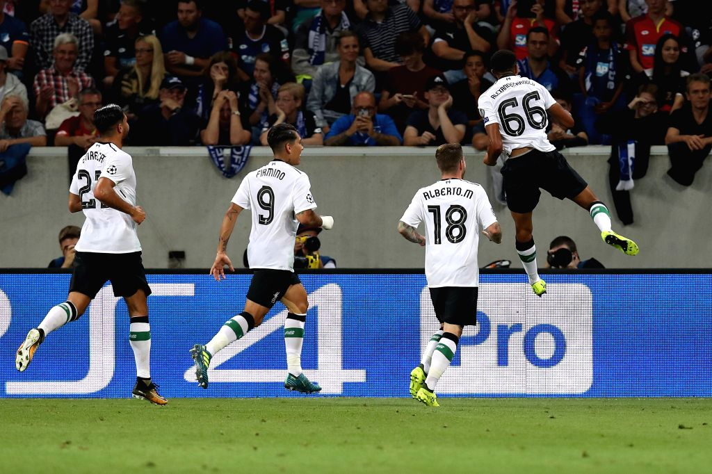 SINHEIM, Aug. 16, 2017 - Trent Alexander Arnold (1st, R) of Liverpool celebrates after scoring during the UEFA Champions League Qualifying Play-Offs Round First Leg match against 1899 Hoffenheim at ...