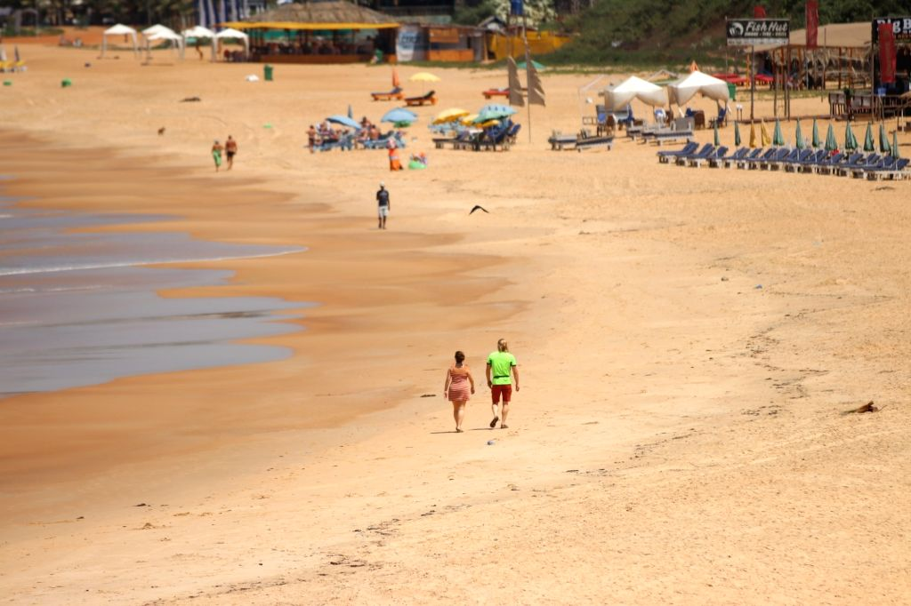 Sinquerim: The Baga Beach bears a deserted look after the Goa Government invoked Section 144 in the wake of increasing cases of COVID-19 (coronavirus), in Sinquerim on March 21, 2020. (Photo: IANS)