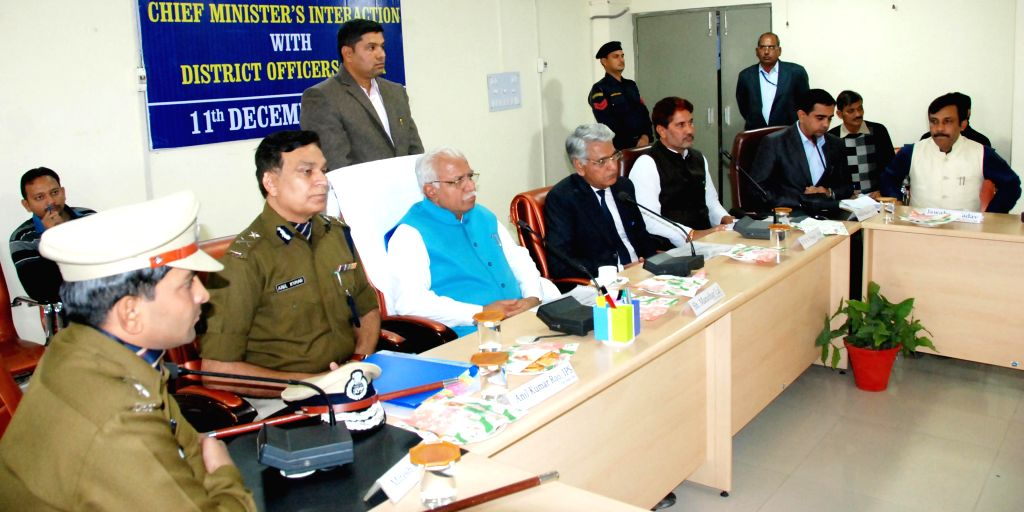 Haryana Chief Minister Manohar Lal Khattar during a meeting with district officials in Sirsa, Haryana on Dec 11, 2014. - Manohar Lal Khattar