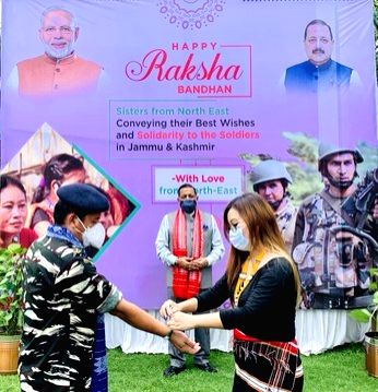 Sisters from the Northeastern states tie Rakhi on Jawans from armed and paramilitary forces whose battalions or companies are deployed in Jammu & Kashmir and Ladakh during a programme ...