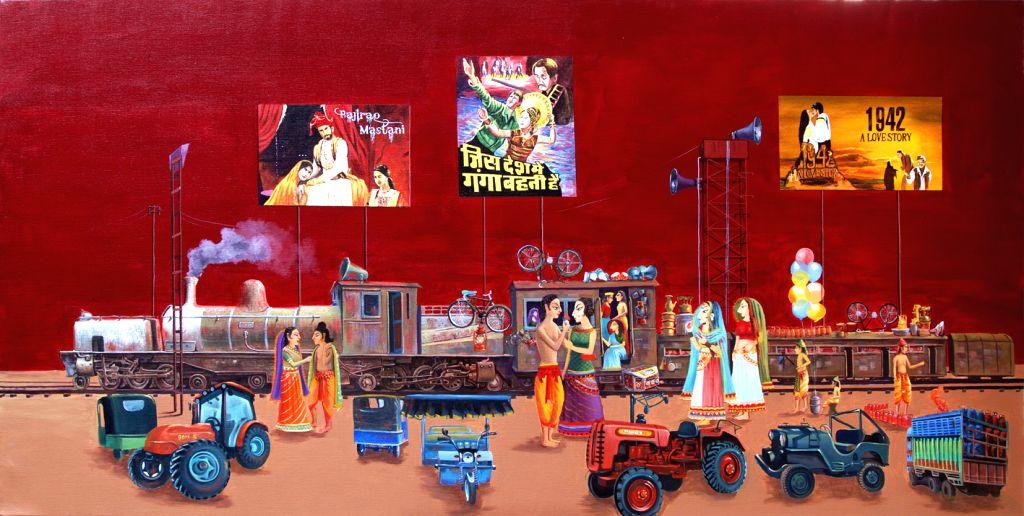 Sita Ram, acrylic on canvas - Nepalese artist Uma Shankar Shah presents this unique blend in an exhibition - Uma Shankar Shah