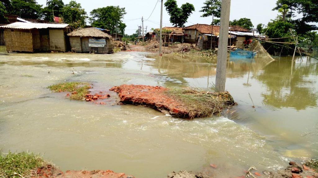 Sitamarhi: A view of the flood affected Sitamarhi in Bihar on July 19, 2019. (Photo: IANS)
