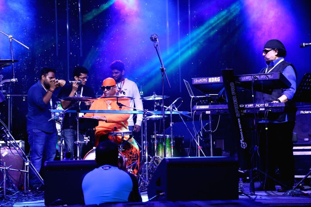 Sivamani and Louiz Banks Duo performing at the HARMAN Live Arena at Palm Expo 2016.