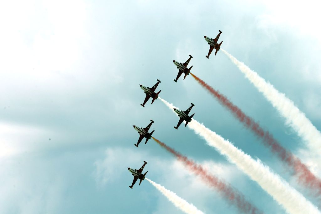 SIVRIHISAR (TURKEY), Sept. 14, 2019 Aircraft perform during the Sivrihisar Airshow 2019 in Sivrihisar district of Eskisehir in Turkey, on Sept. 14, 2019. The Sivrihisar Airshow, which is ...