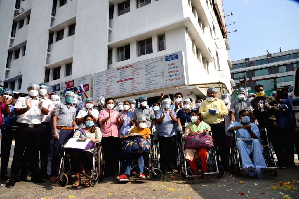 Six COVID-19 patients return back home after being discharged post recovery from the Hospital in Kolkata during the extended nationwide lockdown imposed to mitigate the spread of ...
