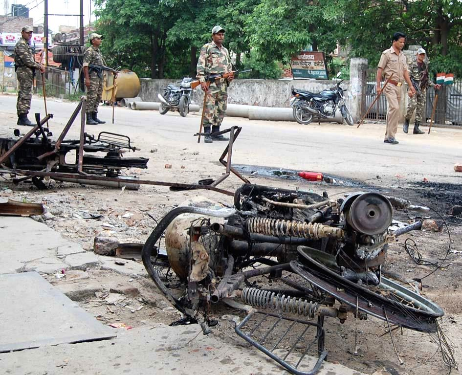 Skeleton of a bike destroyed in the clashes that broke out between two communities in Saharanpur of Uttar Pradesh on July 28, 2014. Over four dozen vehicles and shops were gutted in the violence.