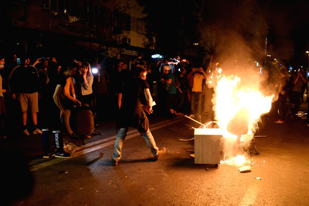 SKOPJE, April, 13, 2016Protesters burn furniture near Macedonian president's public office for communication during a protest against President Gjorge Ivanov's decision to halt a ...